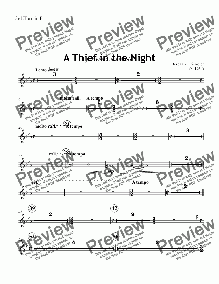 page one of the 3rd Horn in F part from A Thief in the Night