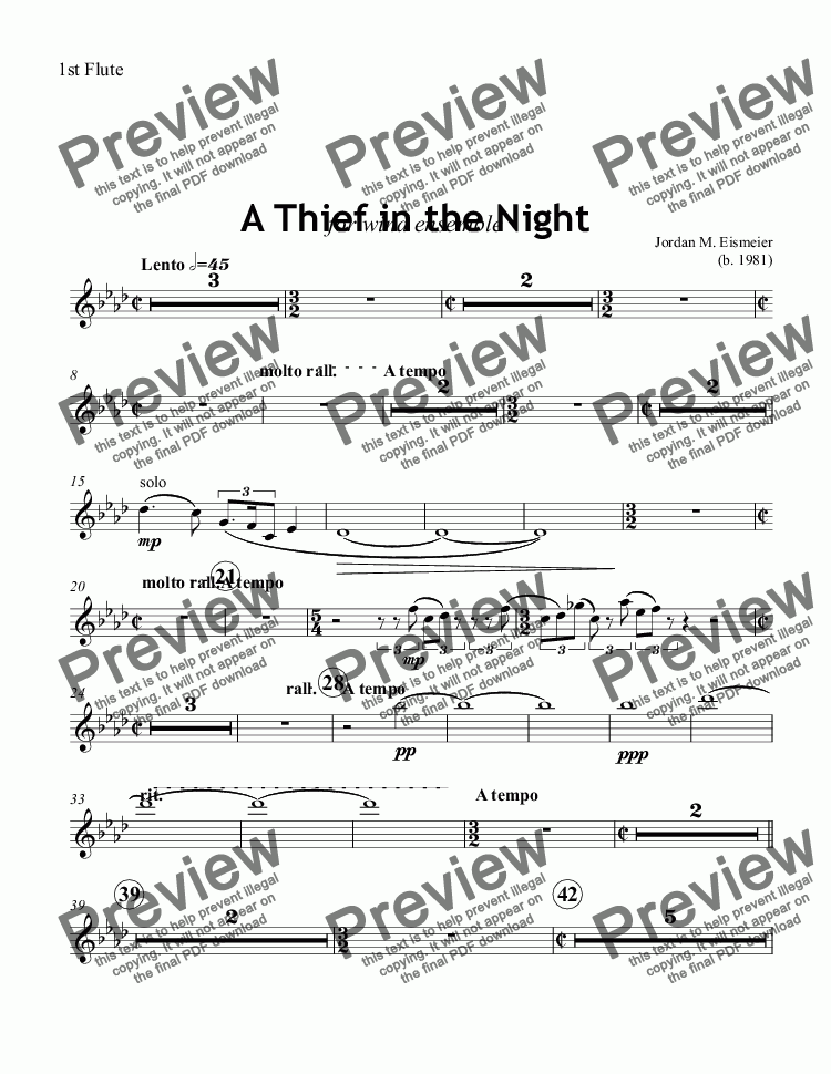 page one of the 1st Flute part from A Thief in the Night