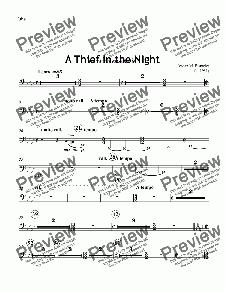 page one of the Tuba part from A Thief in the Night