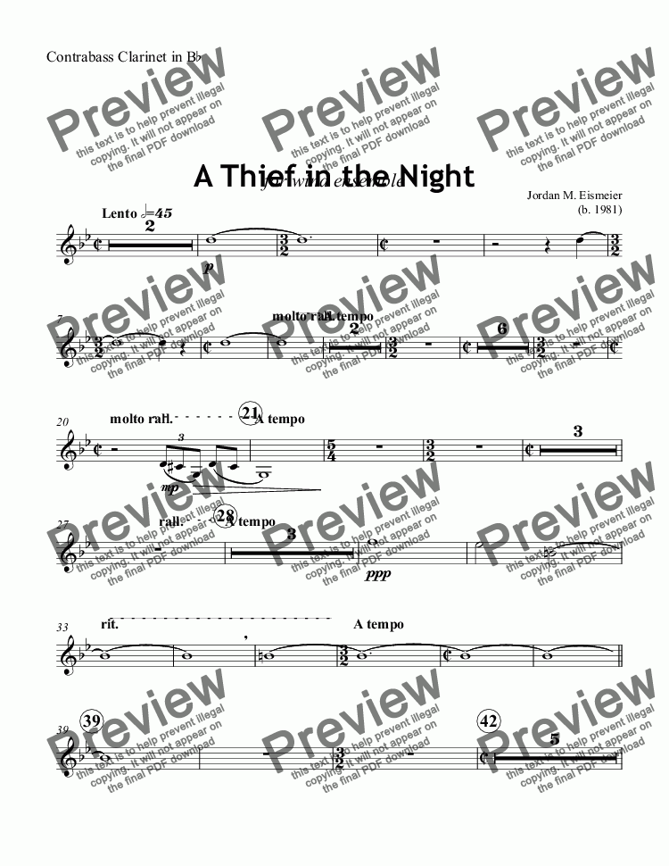 page one of the Contrabass Clarinet in B^b part from A Thief in the Night