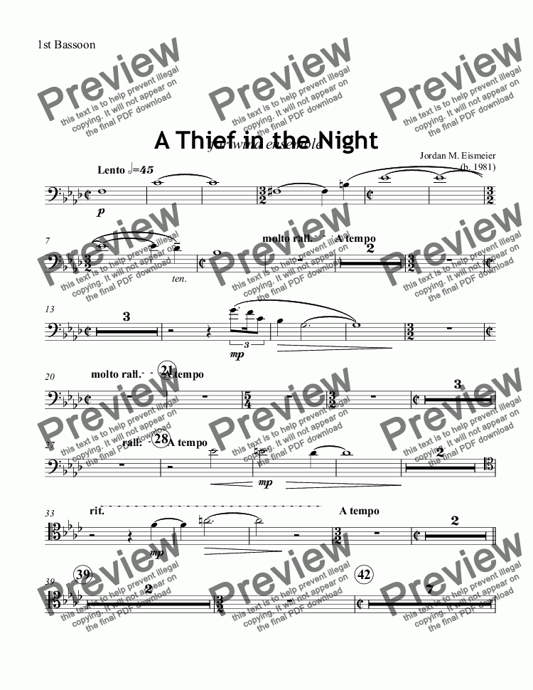 page one of the 1st Bassoon part from A Thief in the Night