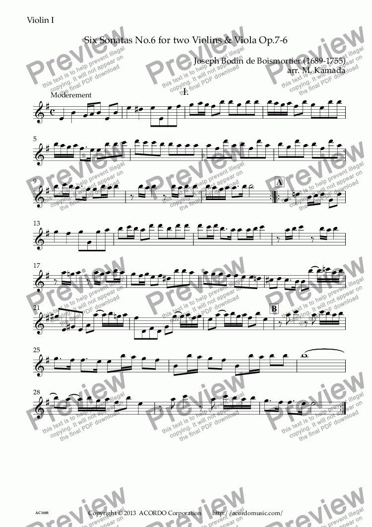page one of the Violin I part from Six Sonatas No.6 for two Violins & Viola Op.7-6