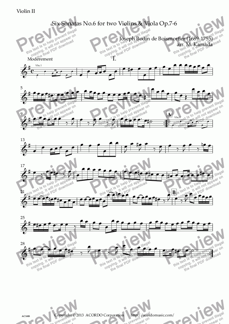 page one of the Violin II part from Six Sonatas No.6 for two Violins & Viola Op.7-6