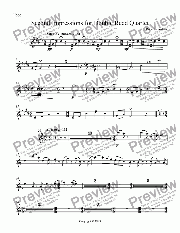 page one of the Oboe part from Second Impressions for Double Reed Quartet
