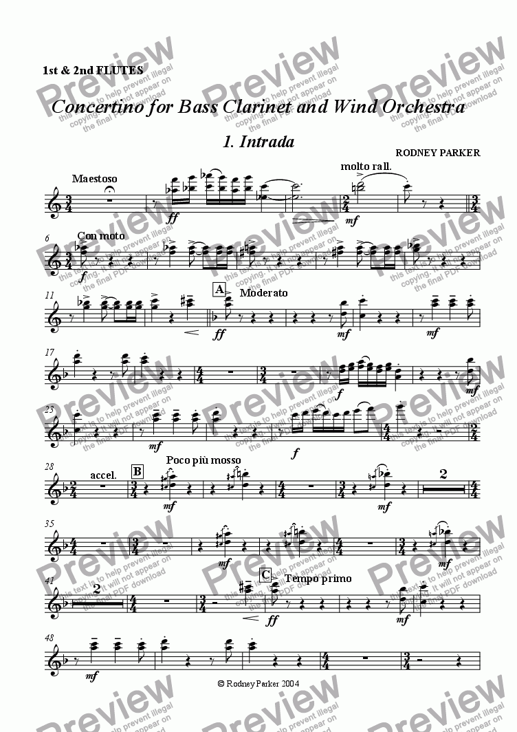 page one of the Flutes 1+2 part from Concertino for Bass Clarinet & Wind Orchestra