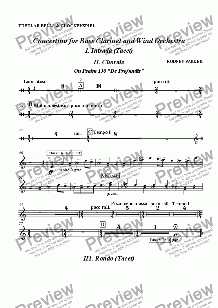 page one of the Tubular Bells & Glockenspiel part from Concertino for Bass Clarinet & Wind Orchestra