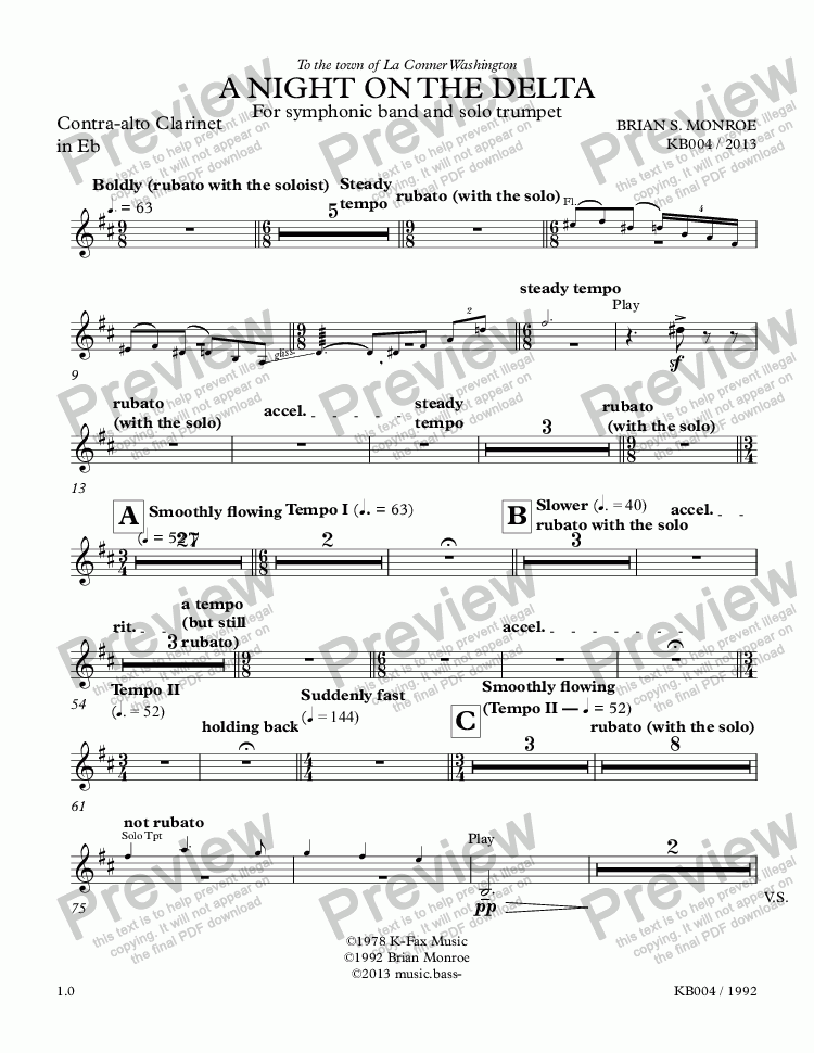 page one of the Contra-alto Clarinet in Eb part from A Night on the Delta