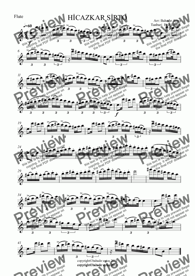 page one of the Flute part from HİCAZKAR SİRTO