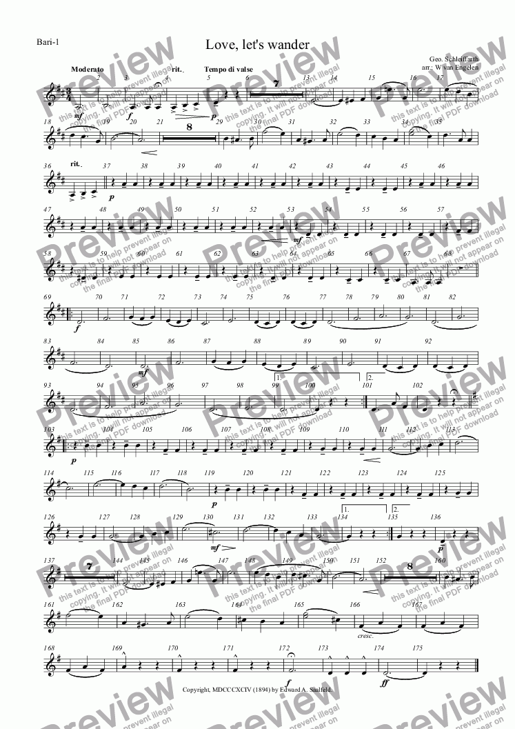 page one of the Bari-1 part from Love, let's wander