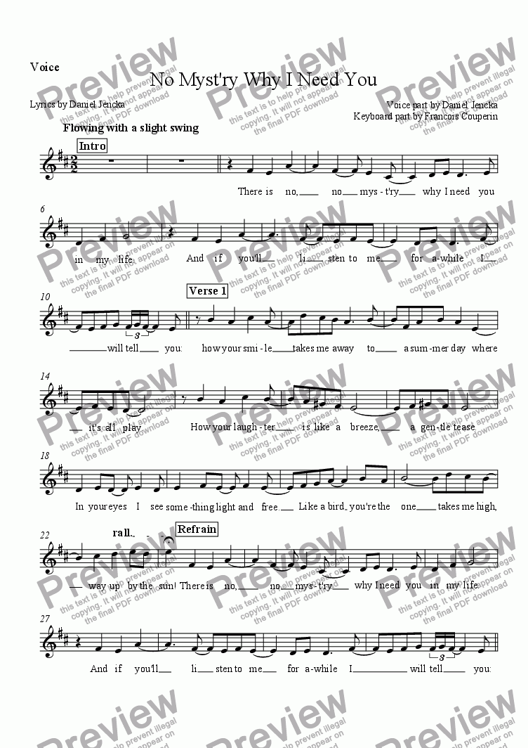 page one of the Voice part from NO MYST'RY WHY I NEED YOU (after Couperin's Les Baricades Mistérieuses) for Voice and Piano