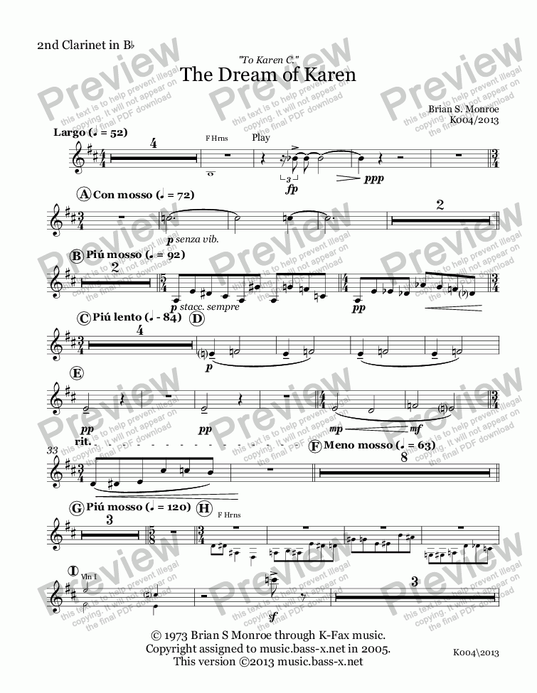 page one of the 2nd Clarinet in B^b part from The Dream of Karen