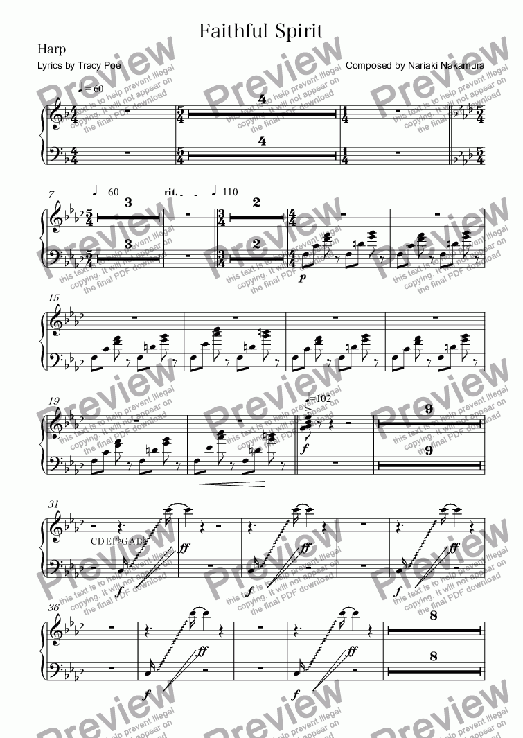 page one of the Harp part from Faithful Spirit (instrumental)