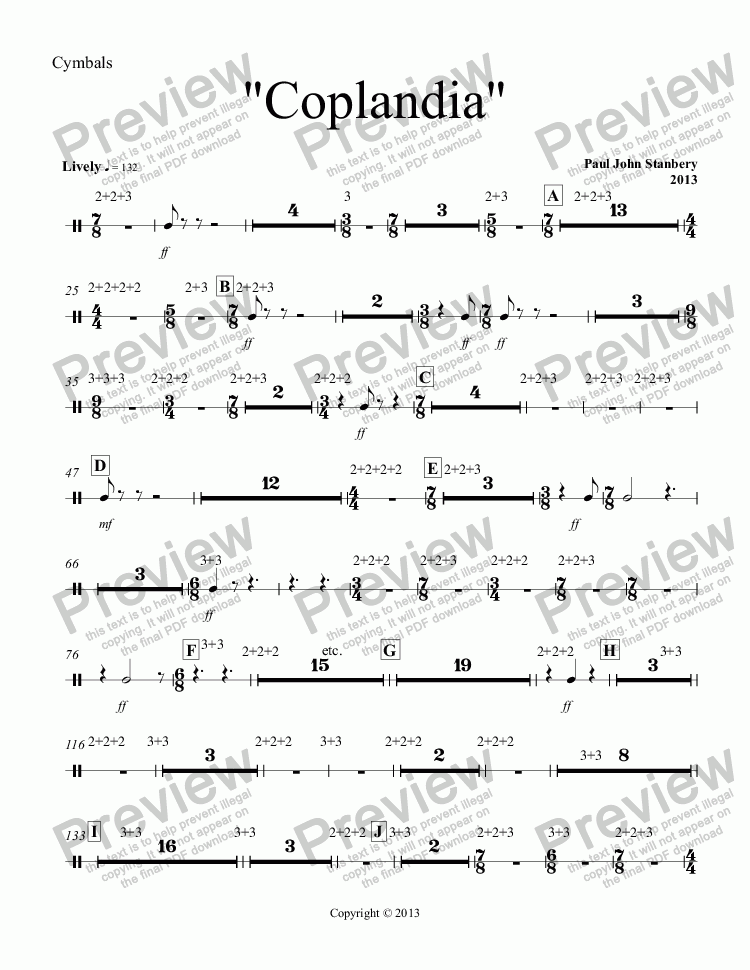 "page one of the Cymbals part from ""Coplandia"""