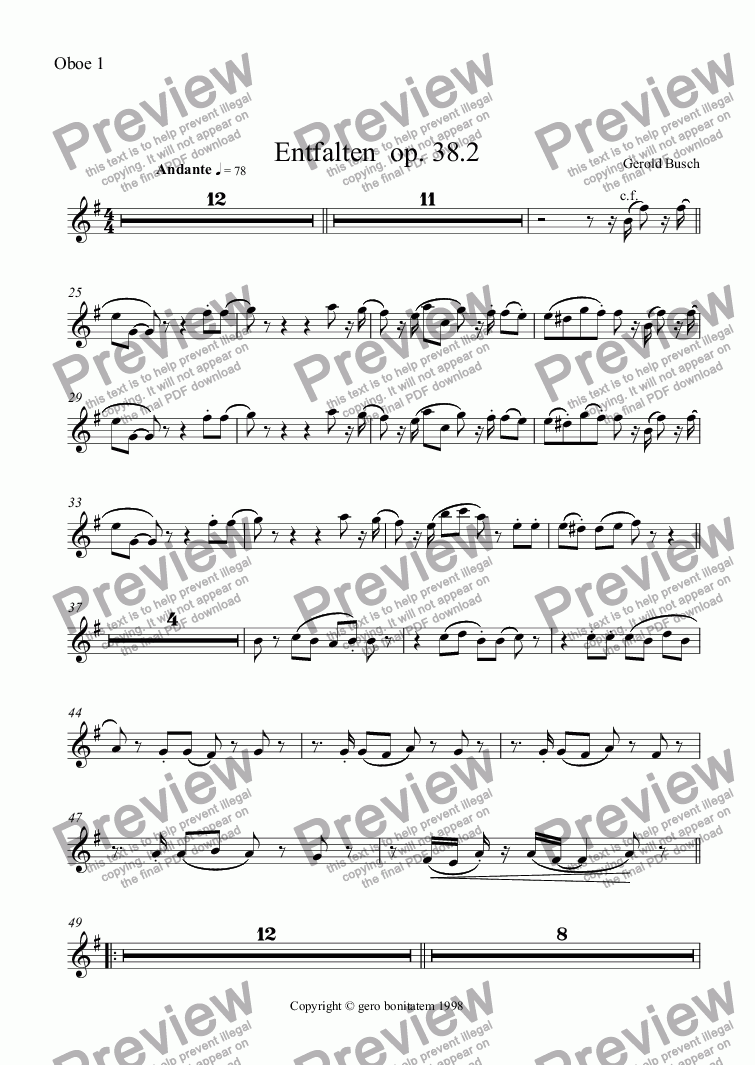 page one of the Oboe 1 part from Entfalten  op. 38.2