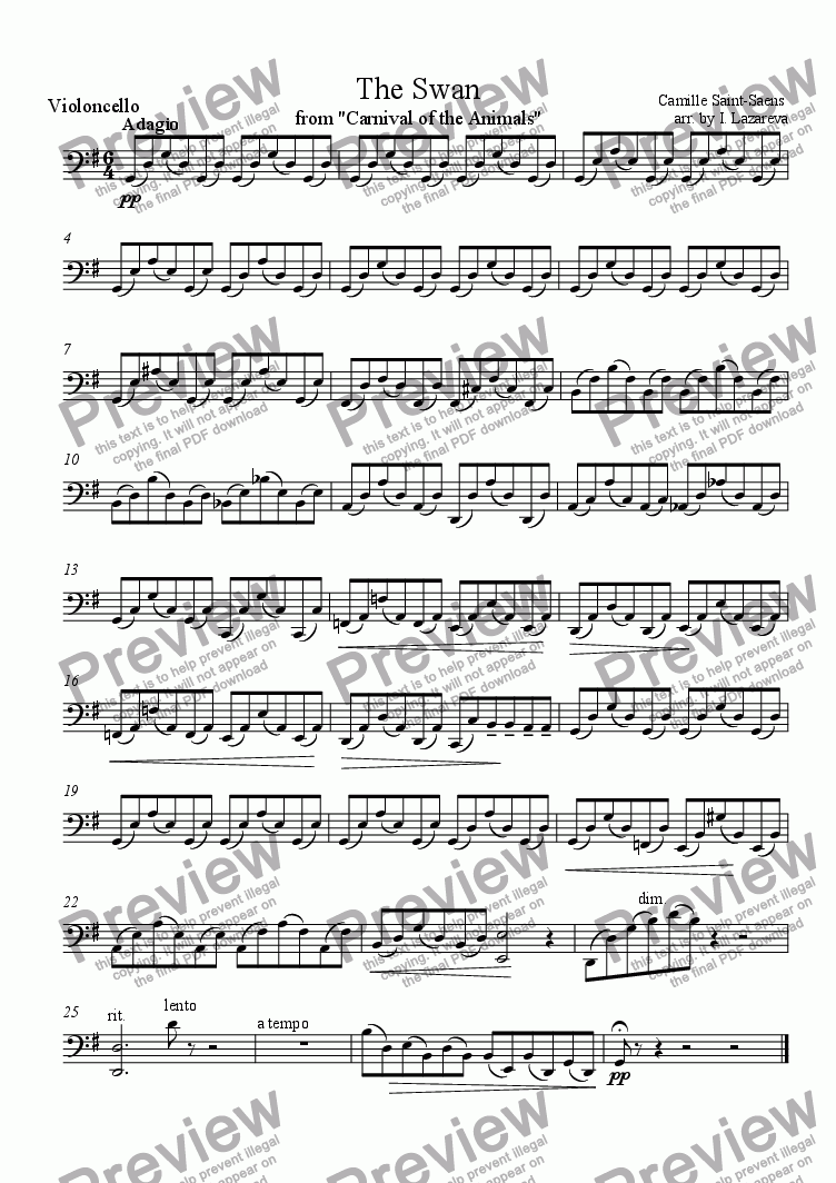 page one of the cello part from The Swan