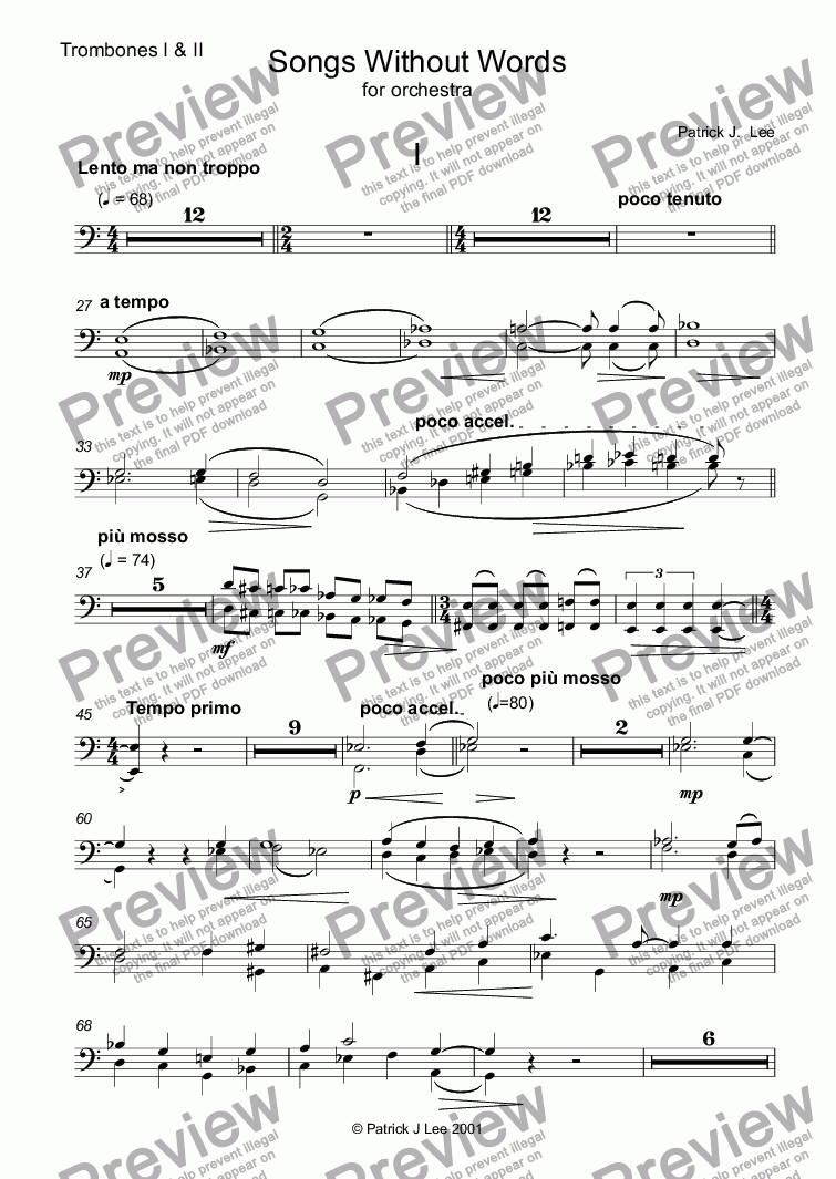 page one of the Trombones 1&2 part from Four Songs Without Words for Orchestra