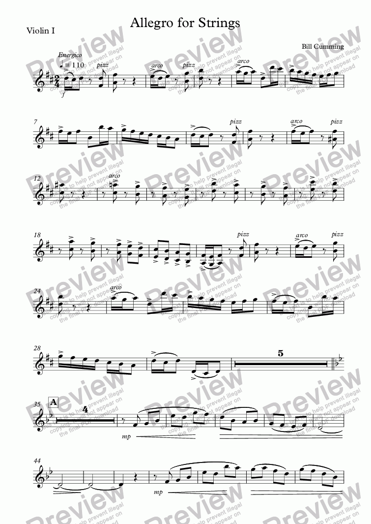 page one of the Violin I part from Allegro for Strings