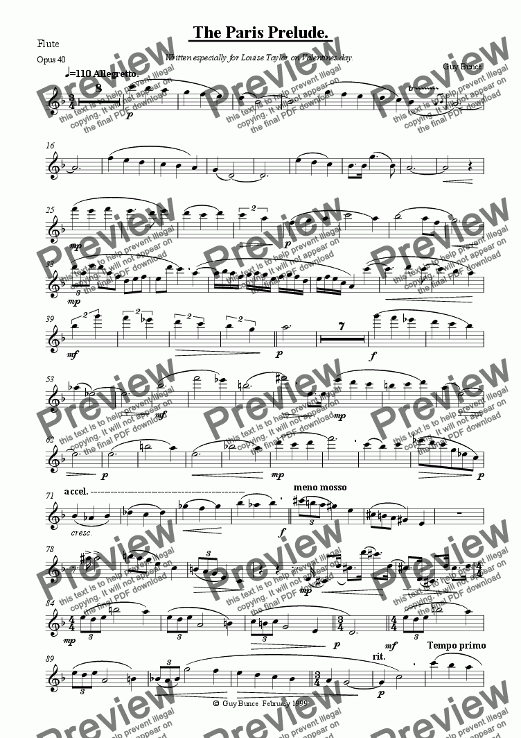 page one of the Flute part from The Paris Prelude