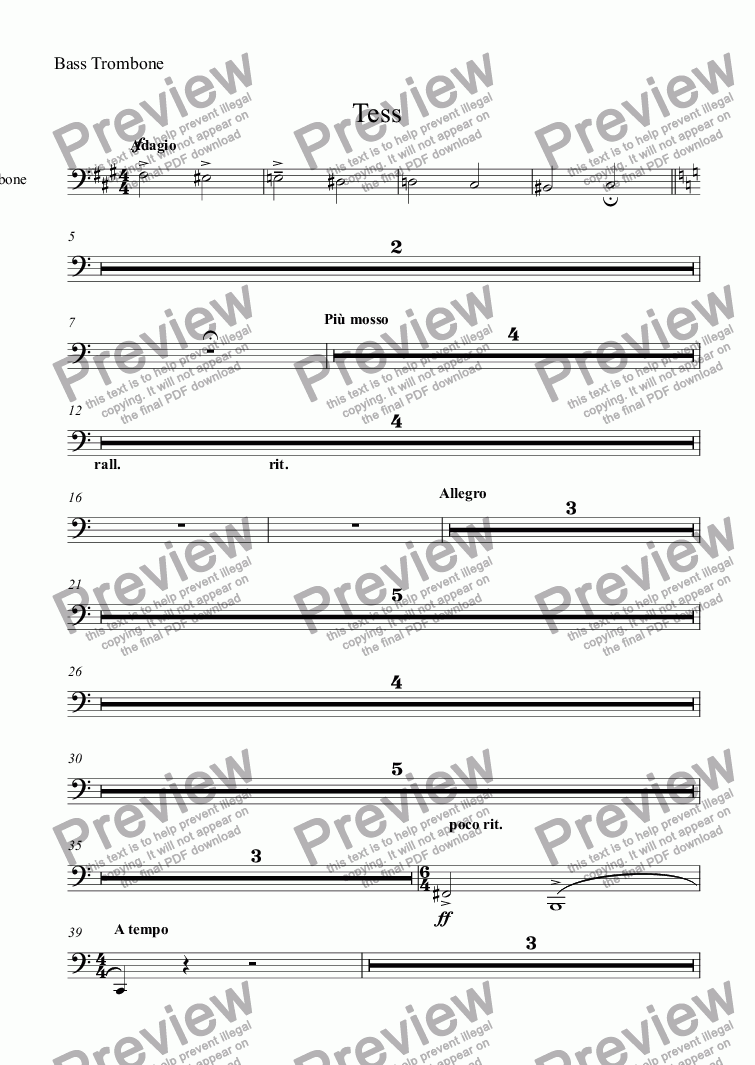 page one of the Bass Trombone part from Tess