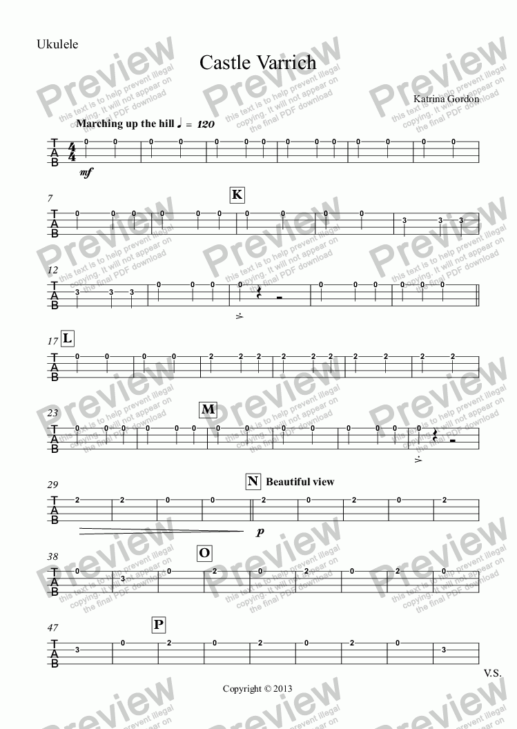 page one of the Ukulele part from Castle Varrich