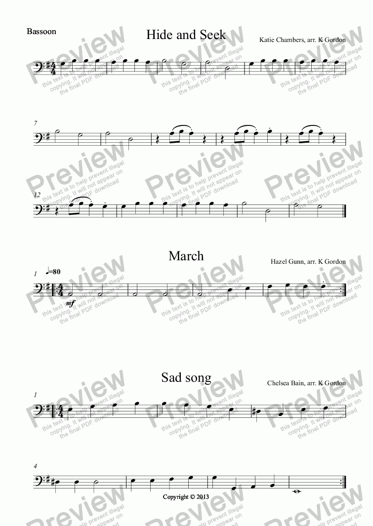 page one of the Bassoon part from Hide and Seek