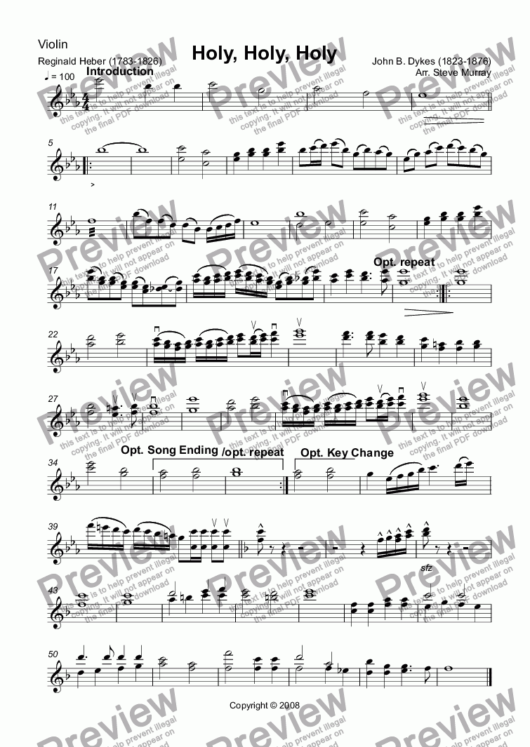 page one of the Violin part from Holy, Holy, Holy (Hymn Accompaniment Series)
