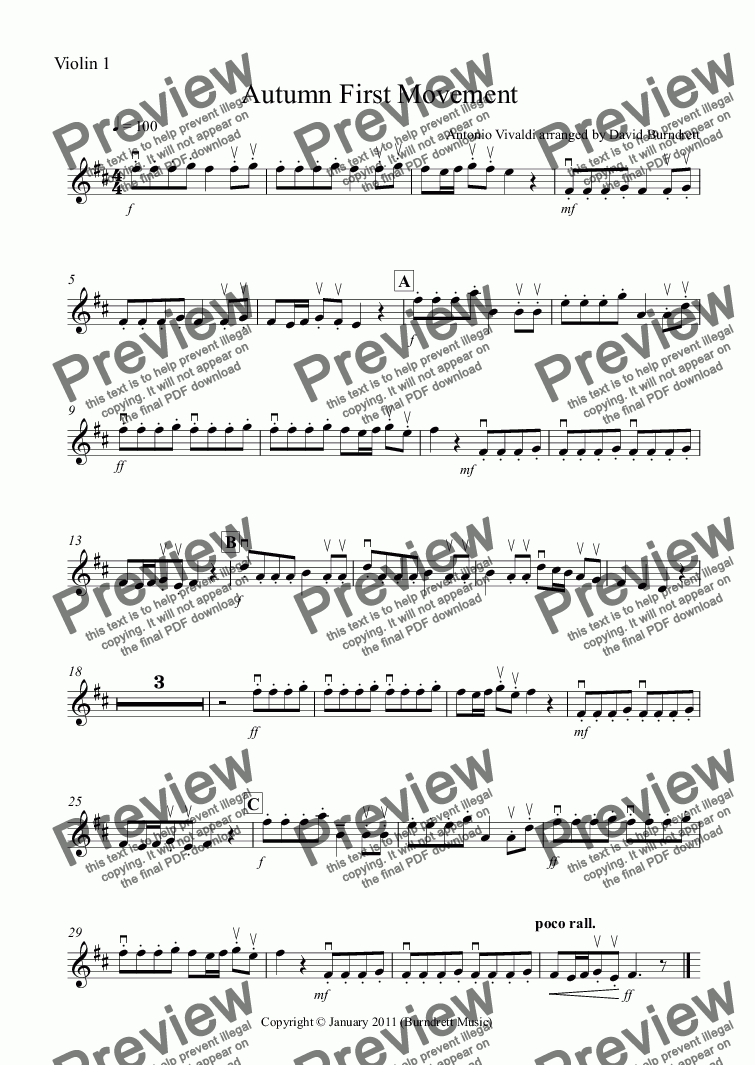 "page one of the Violin 1 part from Autumn ""Four Seasons"" For String Orchestra"