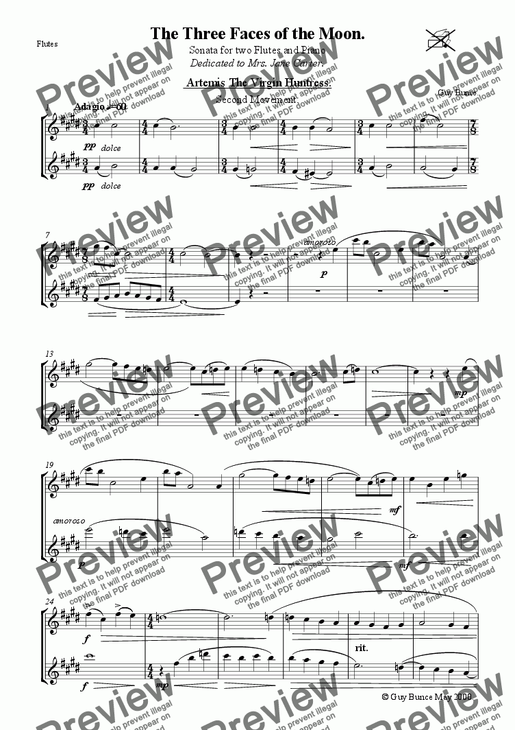 page one of the Flutes 1.2 part from 'The Three Faces of the Moon' Sonata for 2 Flutes and Piano Mv2.