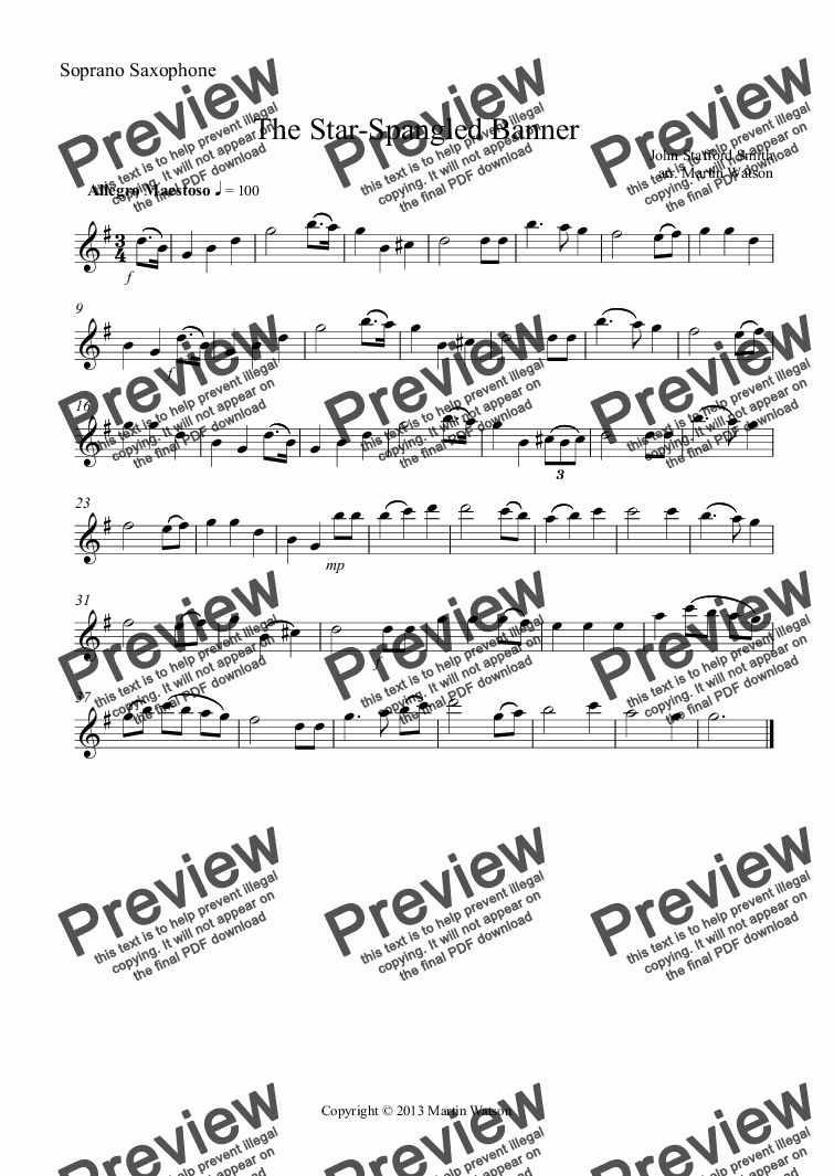 page one of the Soprano Saxophone part from The Star-Spangled Banner for Saxophone Quartet.