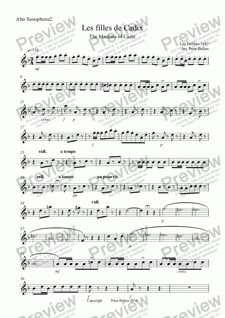 page one of the Alto Saxophone2 part from Les filles de Cadix