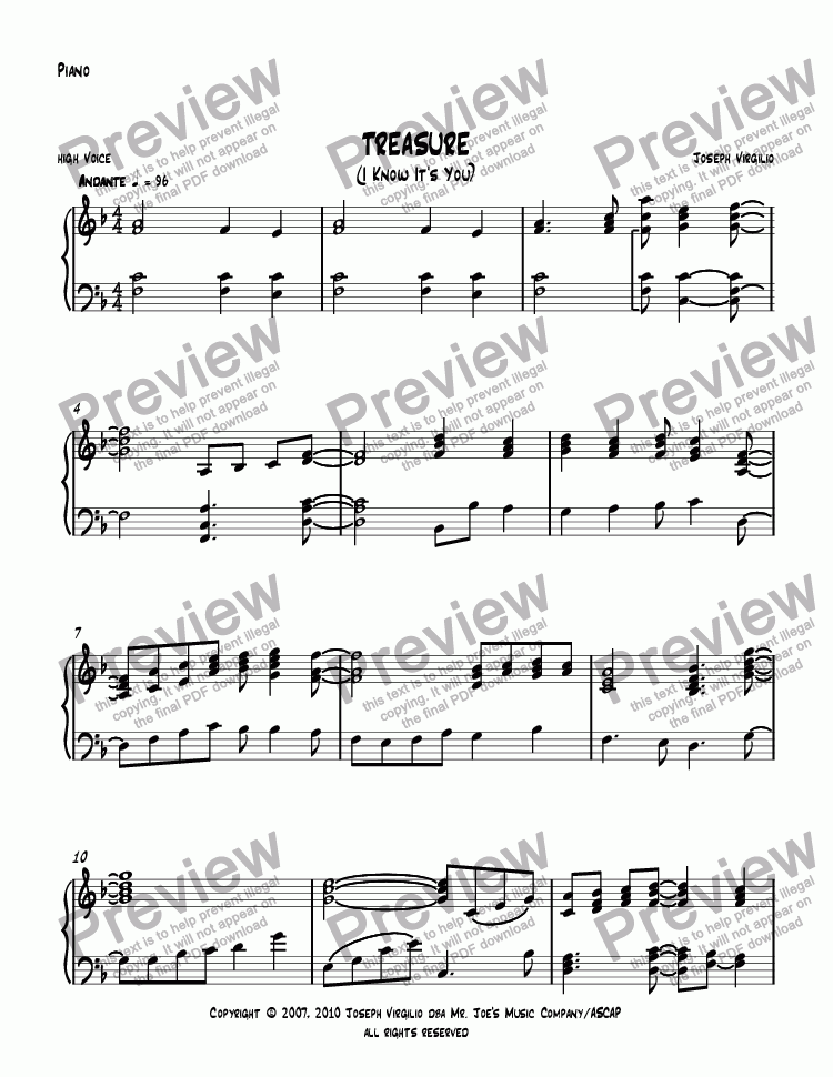 page one of the Piano part from Treasure
