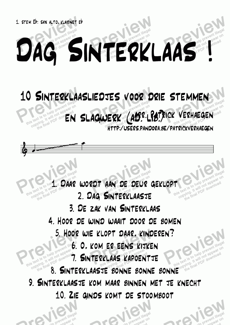 page one of the stem 1 Eb part from Dag Sinterklaas! (3 parts + optional percussion)