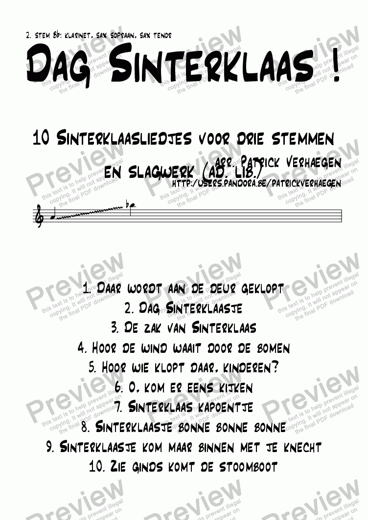 page one of the stem 2 Bb (octaaf hoger) part from Dag Sinterklaas! (3 parts + optional percussion)
