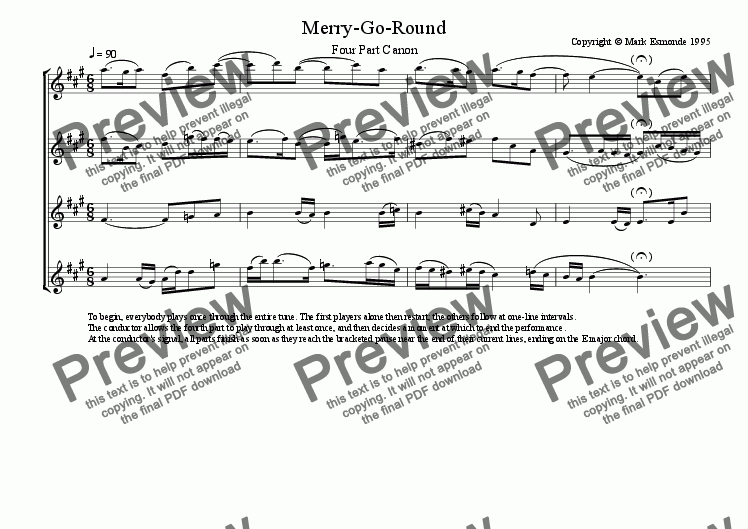 page one of the Flutes part from Merry-Go-Round. Canon for flutes in 4 parts.