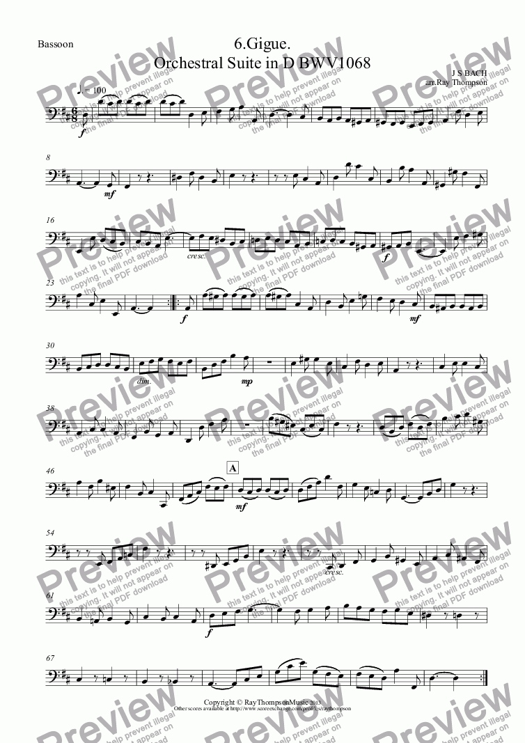 page one of the Bassoon part from Orchestral Suite No.3 in D BWV1068: 6.Gigue.