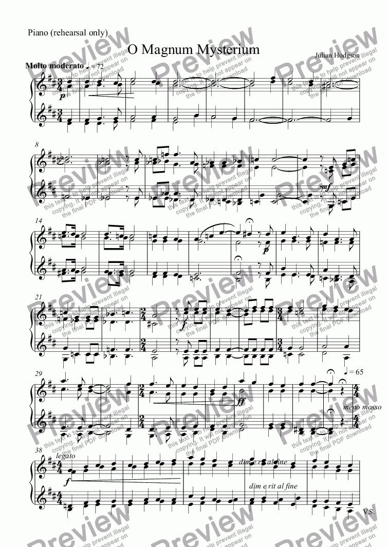 page one of the Piano (rehearsal only) part from O Magnum Mysterium