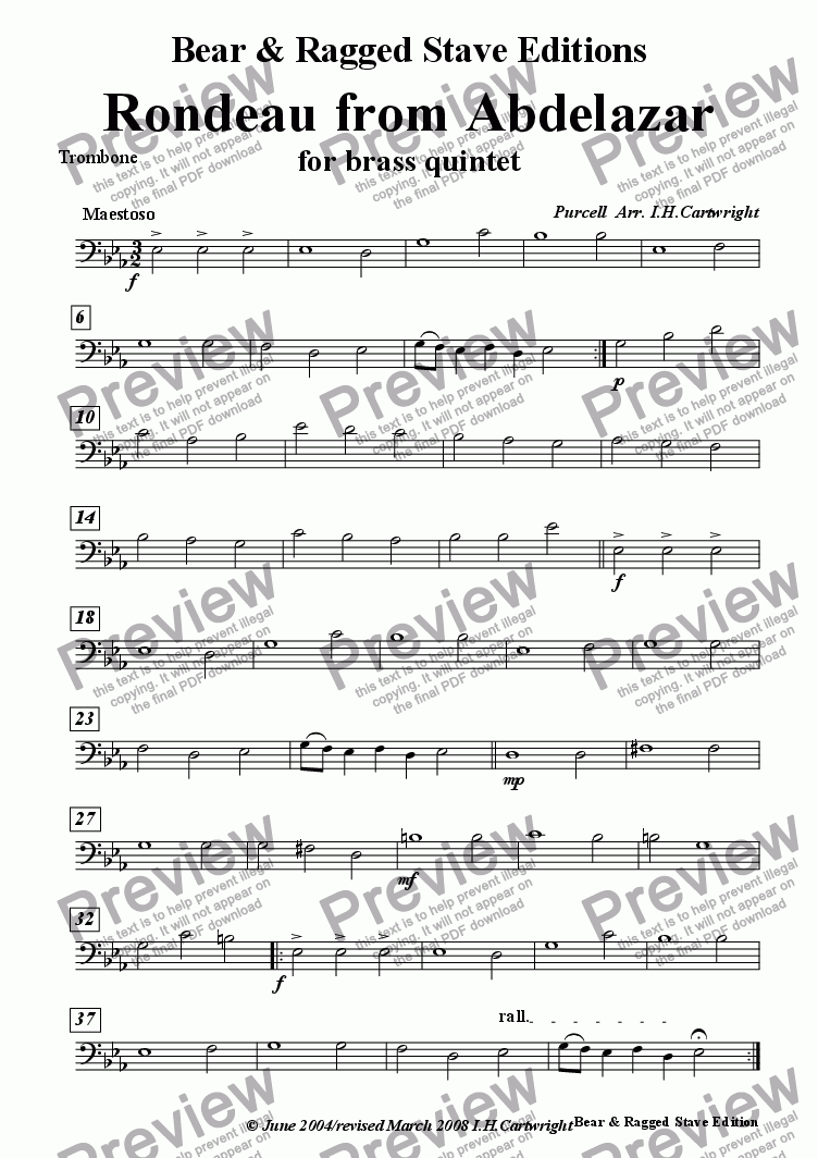 page one of the Trombone part from Rondeau from Abdelazar for Brass Quintet