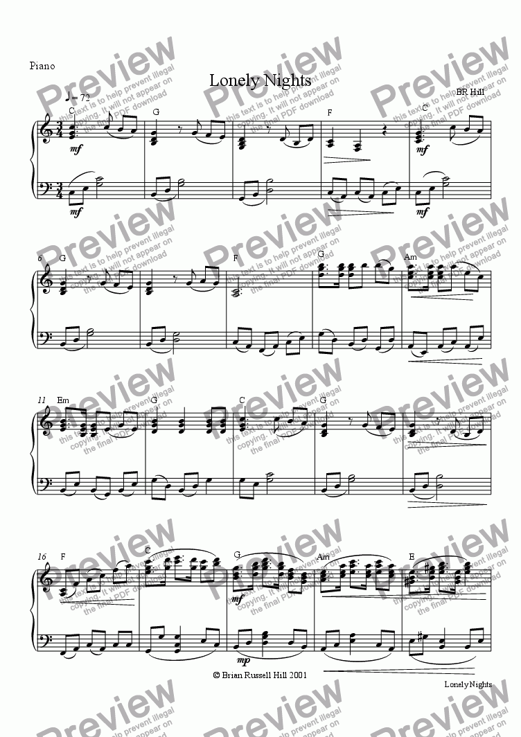 page one of the Piano part from Lonely Nights