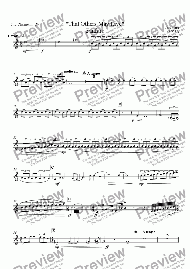 "page one of the clar.2 part from FANFARE ""That Others May Live"""