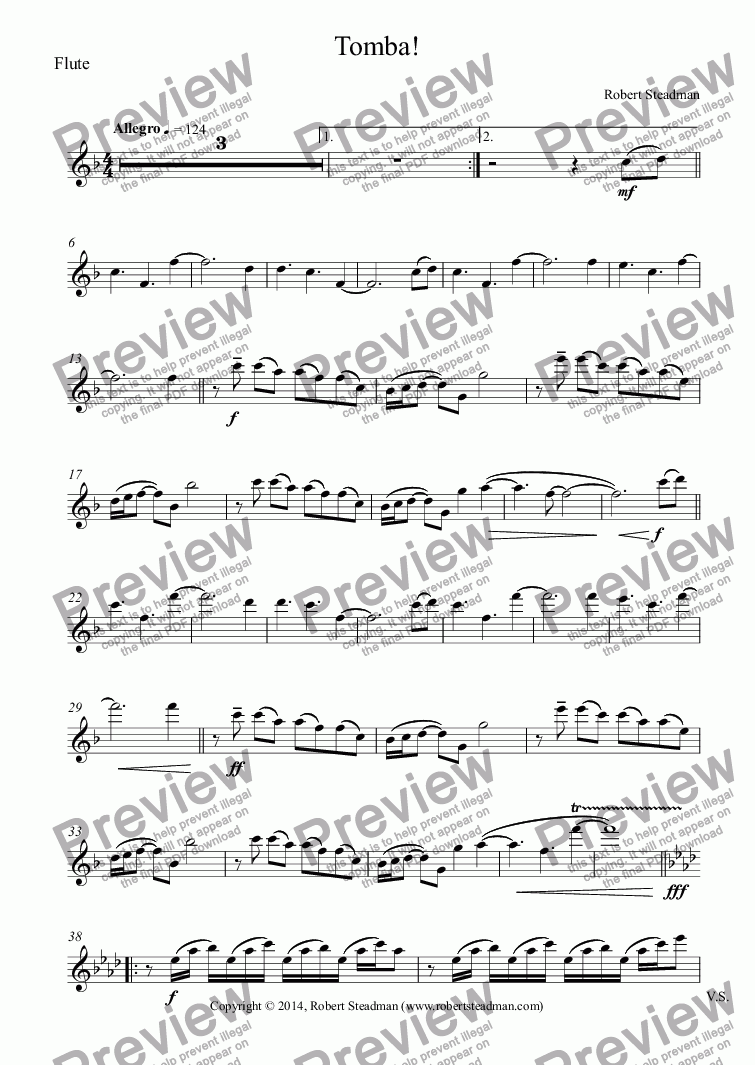 page one of the Flute part from Tomba!