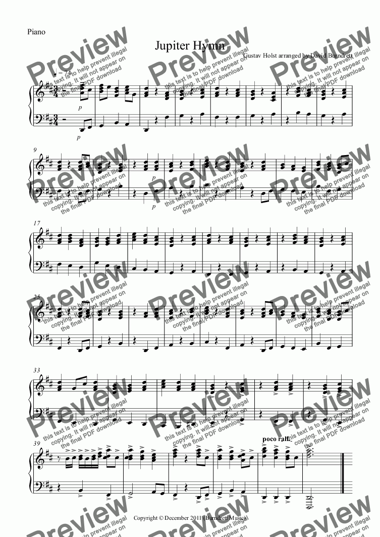 page one of the Piano part from Jupiter Hymn Violin Quartet