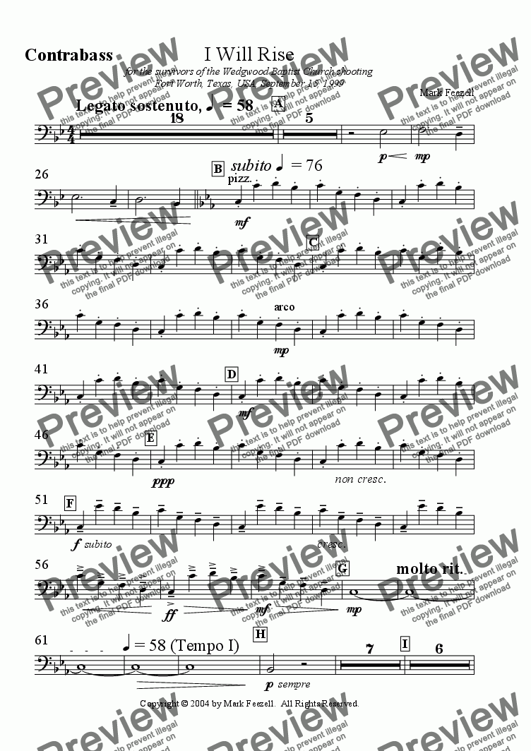 page one of the Double Bass part from I Will Rise for SATB chorus and string orchestra (1999)