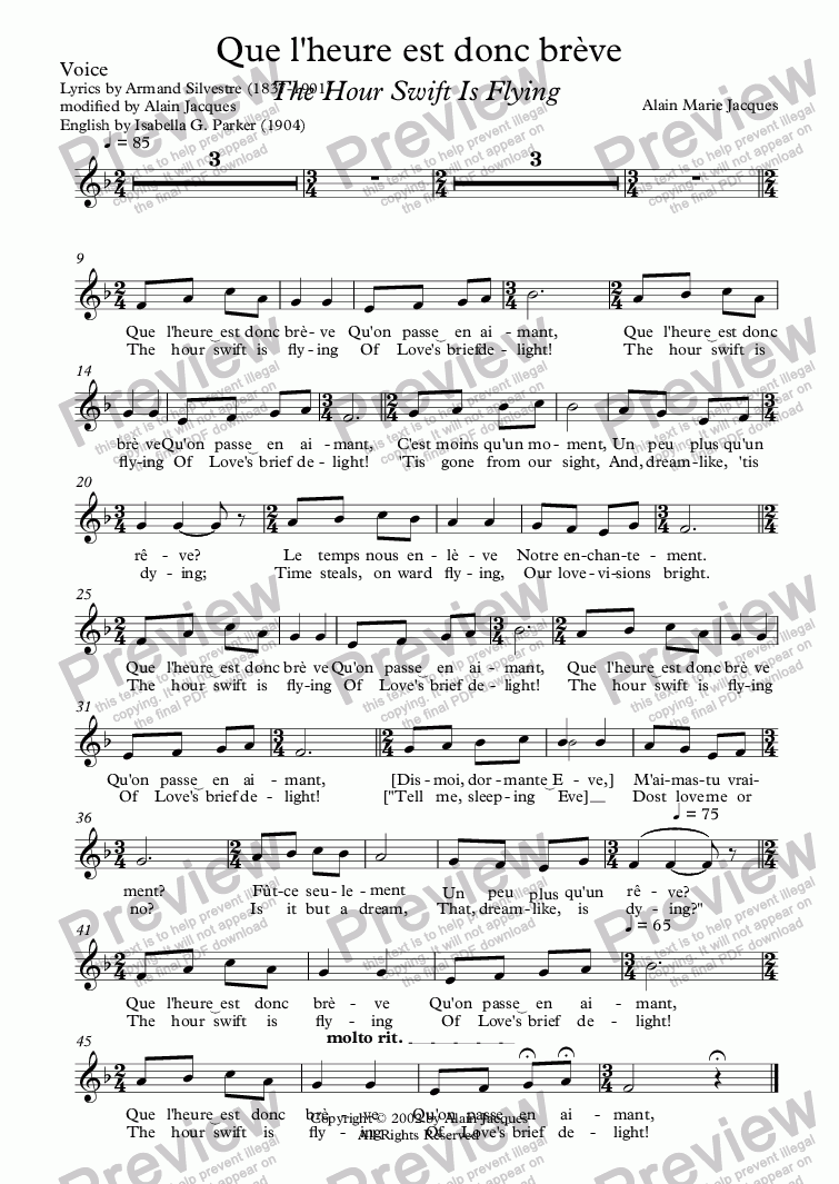 page one of the Voice part from Que l'heure est donc brève (A. Jacques / A. Silvestre) Alternative English