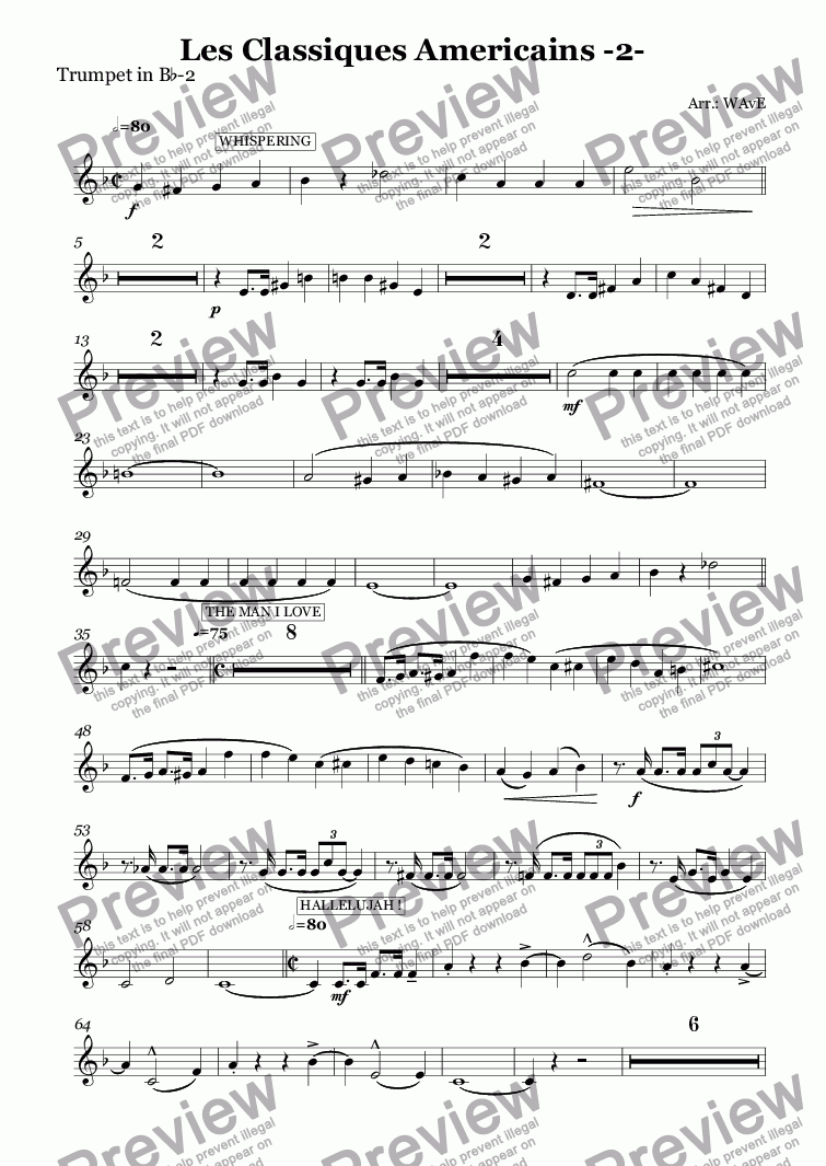 page one of the Trumpet in B^b-2 part from Les Classiques Americains -2-