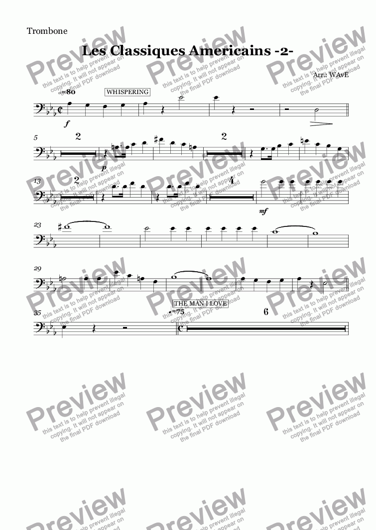 page one of the Trombone part from Les Classiques Americains -2-