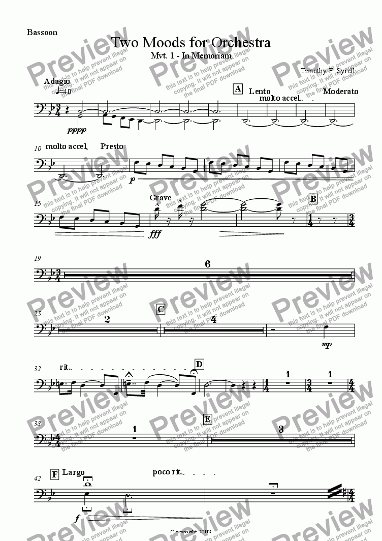 page one of the Bassoon part from Two Moods for Orchestra