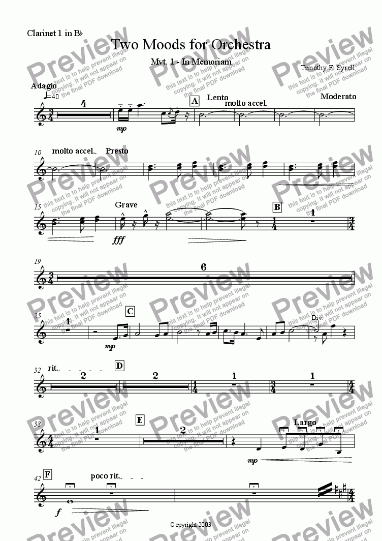 page one of the Clarinet 1 in Bb part from Two Moods for Orchestra