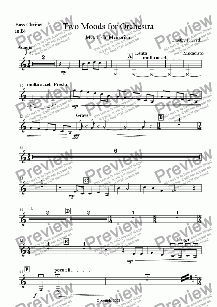 page one of the Bb Bass Clarinet (Treble Clef) part from Two Moods for Orchestra