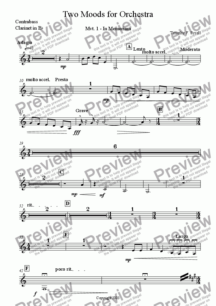 page one of the Bb Contrabass Clarinet (Treble Clef) part from Two Moods for Orchestra
