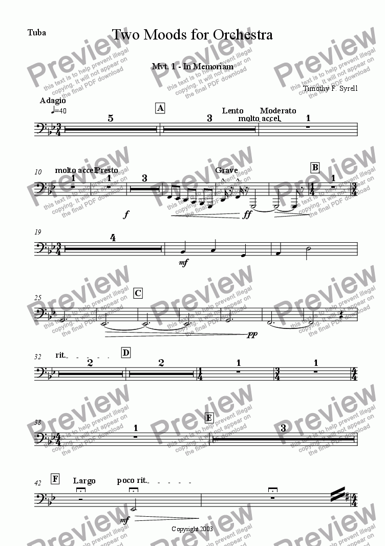 page one of the Tuba part from Two Moods for Orchestra